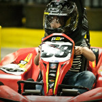 Foot off the brake, throttle at 100%, looking through the turn, making daddy proud!